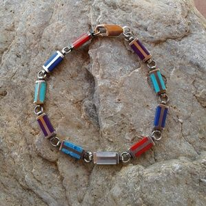 Sterling silver multi-color inlay bracelet